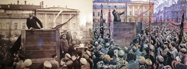 """Фото """"Ленин провожает солдат на польский фронт"""" (1920) и картина И.Бродского """"Ленин на трибуне"""" (1925)"""