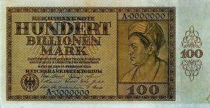 Банкнота 100 триллионов марок