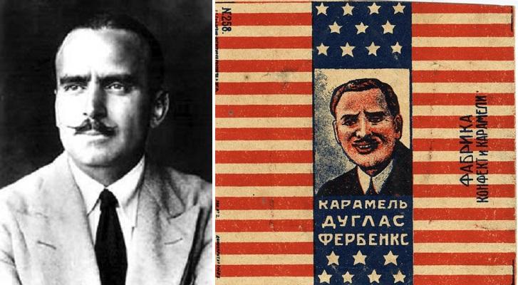 Американский актер Дуглас Фербенкс тоже угодил на советский фантик