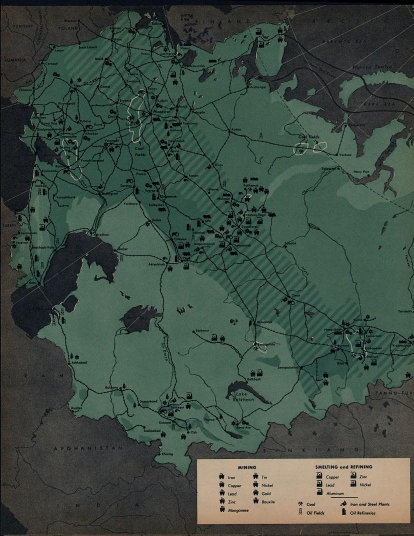 Экономическая карта России времен второй мировой войны. Дата печати: 1945 г.Каечество: очень хорошее. Тип:оригинальный цветной отпечаток.Прим.размер: 51*33 см.