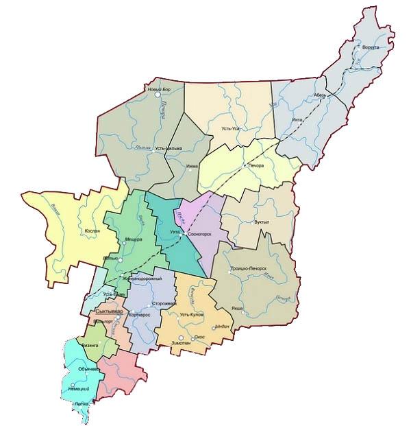 Карта, на которой отмечены некоторые спецпоселки Коми. Сайт museumtur.ru