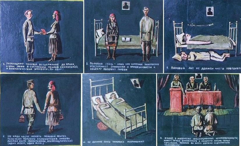 """Иллюстрации к брошюре """"Революция и молодежь"""". Портрет вождя присутствует почти на всех рисунках"""