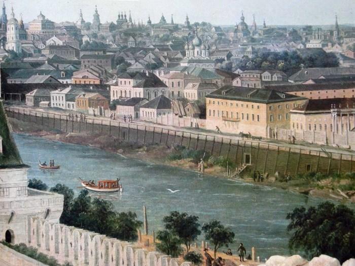Деревянные набережные Москва-реки. Гравюра Ф. Лорие по рисунку Ж. Делабарта