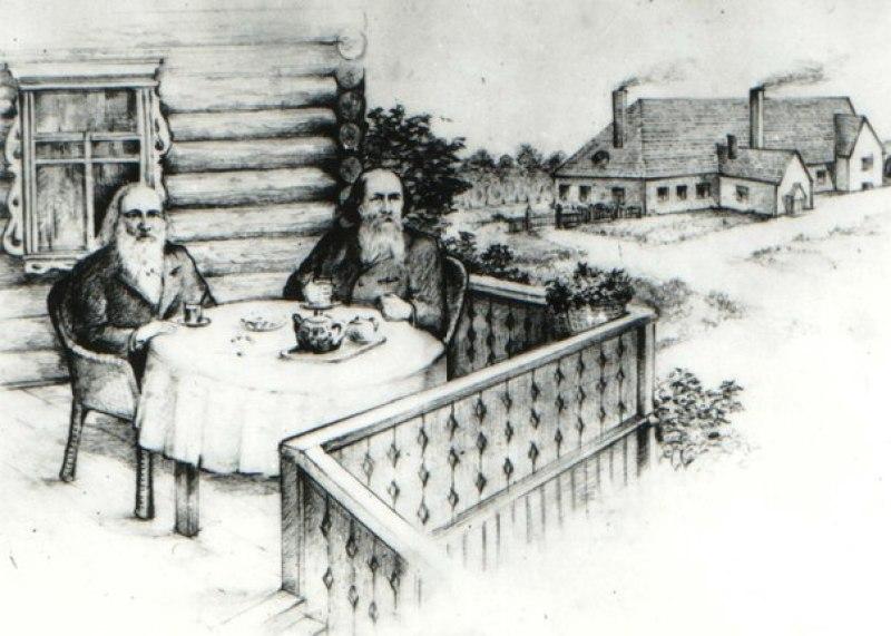 Дмитрий Менделеев и Николай Верещагин пьют чай на террасе в Едимоново