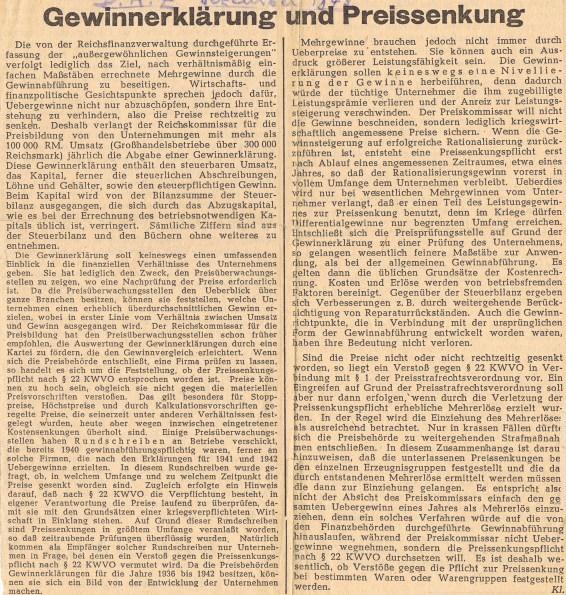 Статья, обнаруженная между страниц альманаха аудитора за 1941 год. под ред.Др.Отто Монсфмейра. изд. Г. А. Глокнера,Лейпциг,