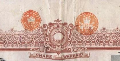 Оттиски монеты в пять и два шиллинга - один шиллинг - свидетельство об уплате владельцем акций налоговых сборов