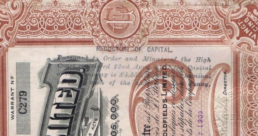Печать Высокого суда Лондона от 1937 года о снижении стоимости акций. Суд в Лондоне был организован британской компанией Lena Goldfields с целью заставить СССР вернуть долг в связи с национализацией концессии в 1920-е годы.