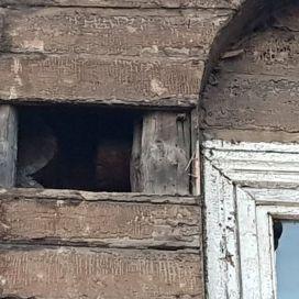 Деревянные брёвна первоначальной застройки проглядывают через обшивку времён купца Гордеева