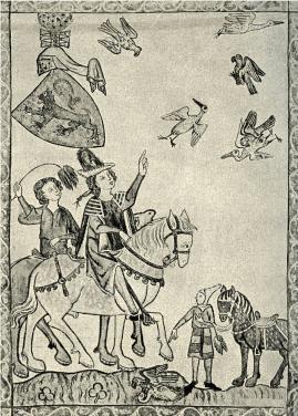 Соколиная охота. Немецкая гравюра XIV века.