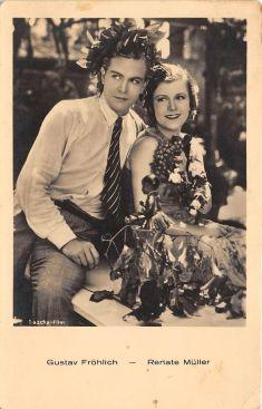 """Густав Фрёлих с актрисой Ренатой Мюллер, открытка из коллекции """"Маленьких историй"""". Рената Мюллер считалась жертвой домогательств со стороны Гитлера, в 1937 году она загадочна умерла в больнице."""