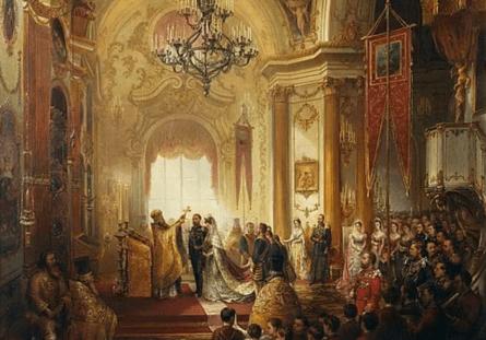 Церемония бракосочетания в Большой церкви Зимнего дворца