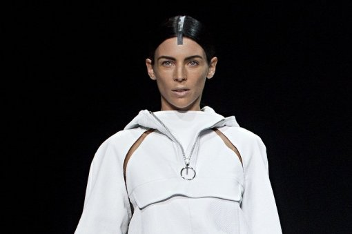 """Liberty Ross, an actress, sometimes-model and wife of """"Snow White and the Huntsman"""" director Rupert Sanders, presents a creation from the Alexander Wang Spring/Summer 2013 collection during New York Fashion Week"""