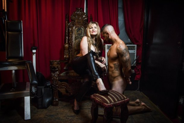 NEW YORK, NY - JULY 18: Sandra LaMorgese takes part in a dominatrix session with the dominated subject, Joseph Gello, at Parthenon Studios in New York on Monday July 18, 2016. (Photo by Damon Dahlen, Huffington Post) *** Local Caption ***