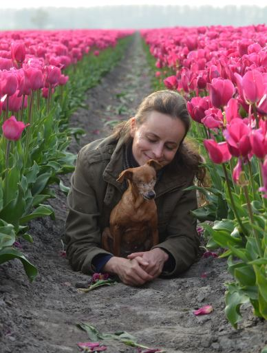 Together with Irene among the tulips