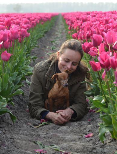 Together with Irene among the tulips