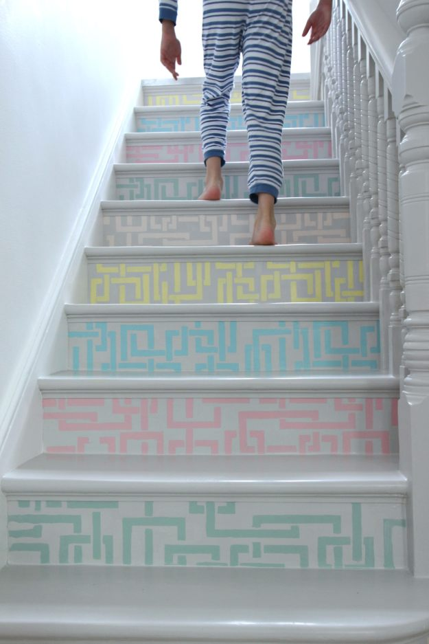 creating patterned stair risers with Farrow & Ball