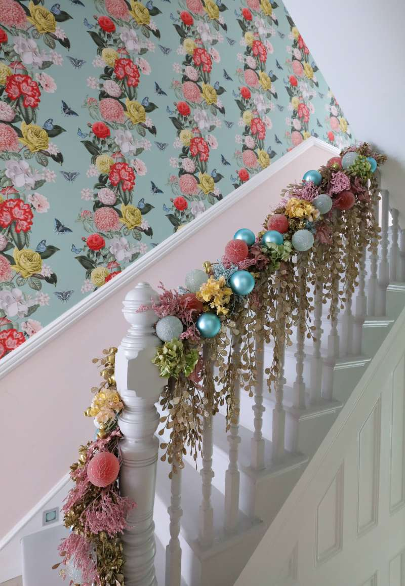dried flowers and foliage garlands hallway