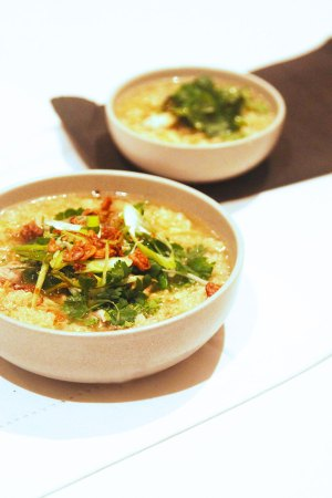 Quinoa Congee with chicken and ginger
