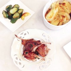 Organic lamb cutlets with sauteed zucchni and a fennel gratin