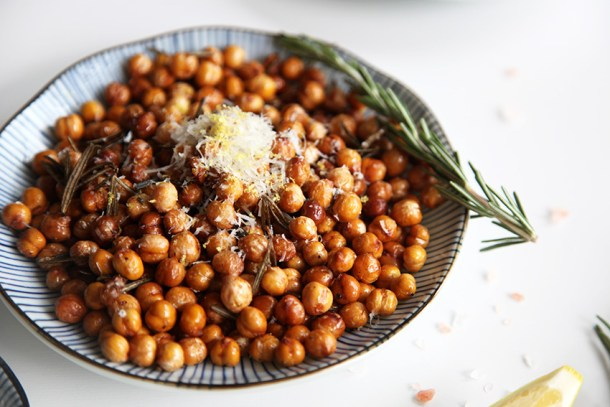 fried chickpeas with rosemary and lemon