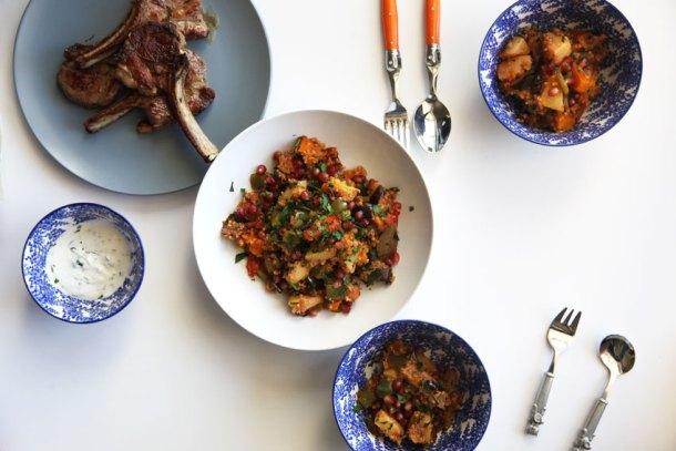 Quince, pumpkin, eggplant, quinoa salad