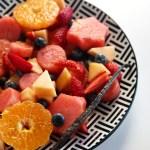 fruit salad with an orange vanilla glaze