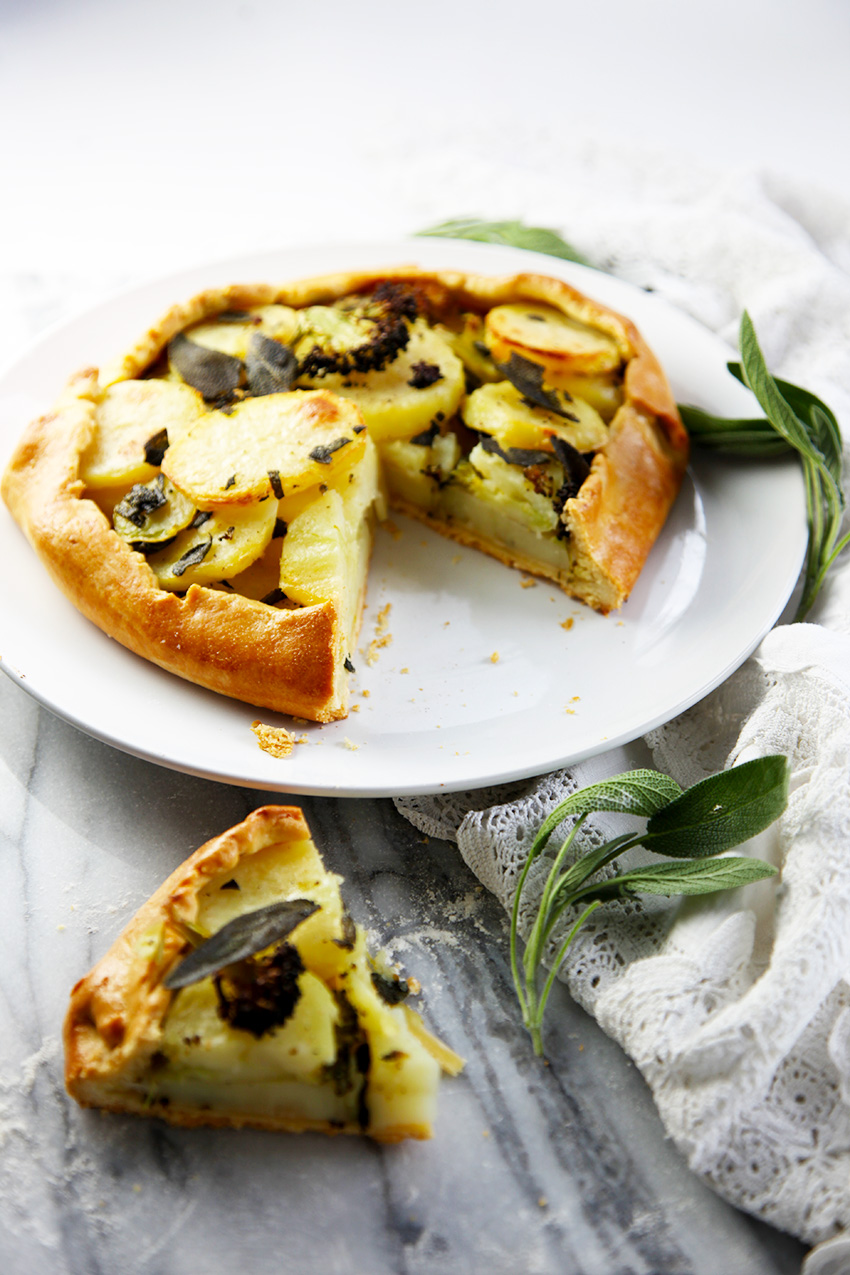 Potato and broccoli galette with crispy sage