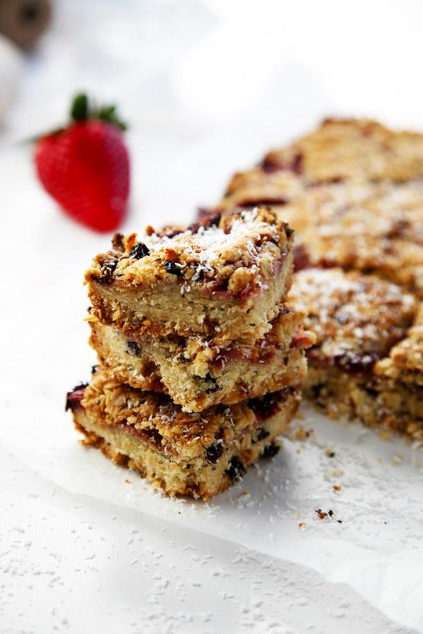 Strawberry and coconut muesli squares