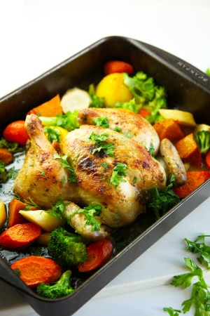 Quick Roast Lemon Chicken - a great weeknight meal with minimum fuss. The lemon adds a beautiful flavour to the chicken and veggies that the kids will love.