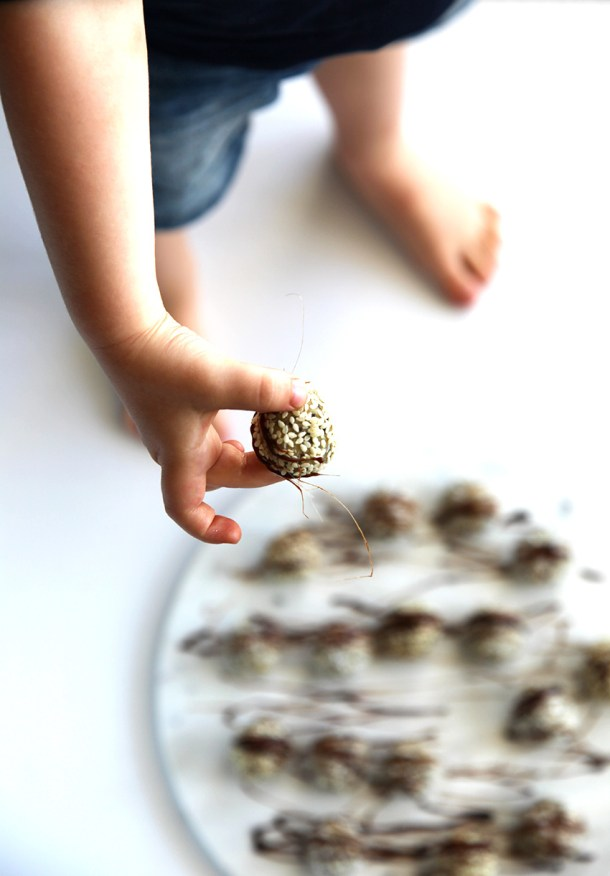 Macadamia Bonbons with Chocolate Toffee - healthy little treats that look spectacular and taste amazing. You won't believe they are good for you.