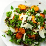Sweet Potato, Kale and Crispy Onion Salad with Parsley Vinaigrette