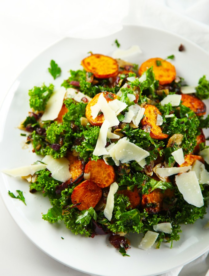 Sweet Potato, Kale and Crispy Onions with Parsley Vinaigrette