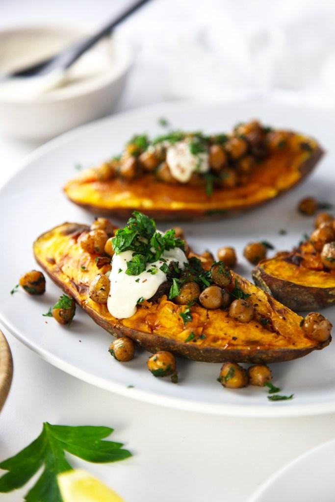 Roasted Sweet Potato with Crispy Chickpeas and Tahini