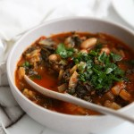 Tuscan Ribollita - a veggie, bean and bread soup. Easy to prepare and perfect for re-heating
