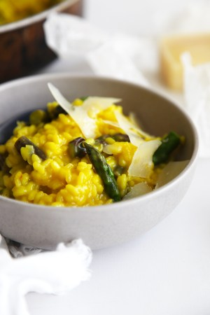 Asparagus and Saffron Risotto - always a favourite so make a extra and use the leftovers to make arancini the following night...