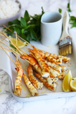 Lemony salty prawns on a slick - serve at your next BBQ and they will be a huge hit