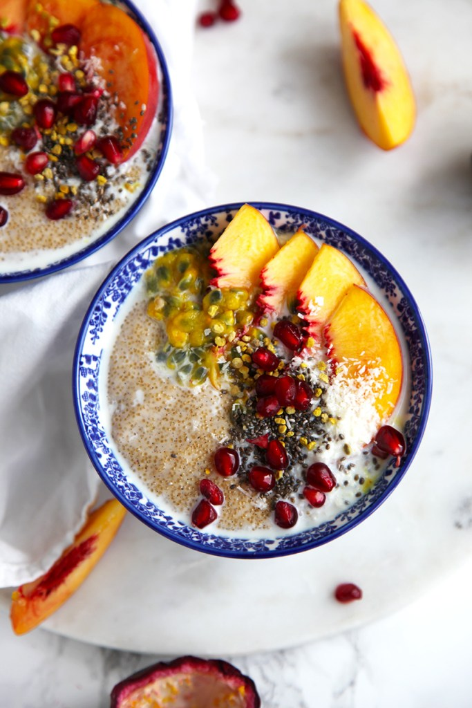 Amaranth Porridge with Peach, Passion and Pomegranate