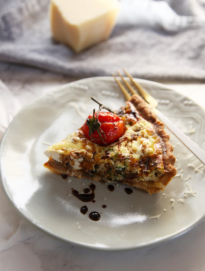 Quiche is a French dish that is very versatile. I've used caramelised onions, tomatoes and for a Italian twist, fresh ricotta and balsamic vinegar.