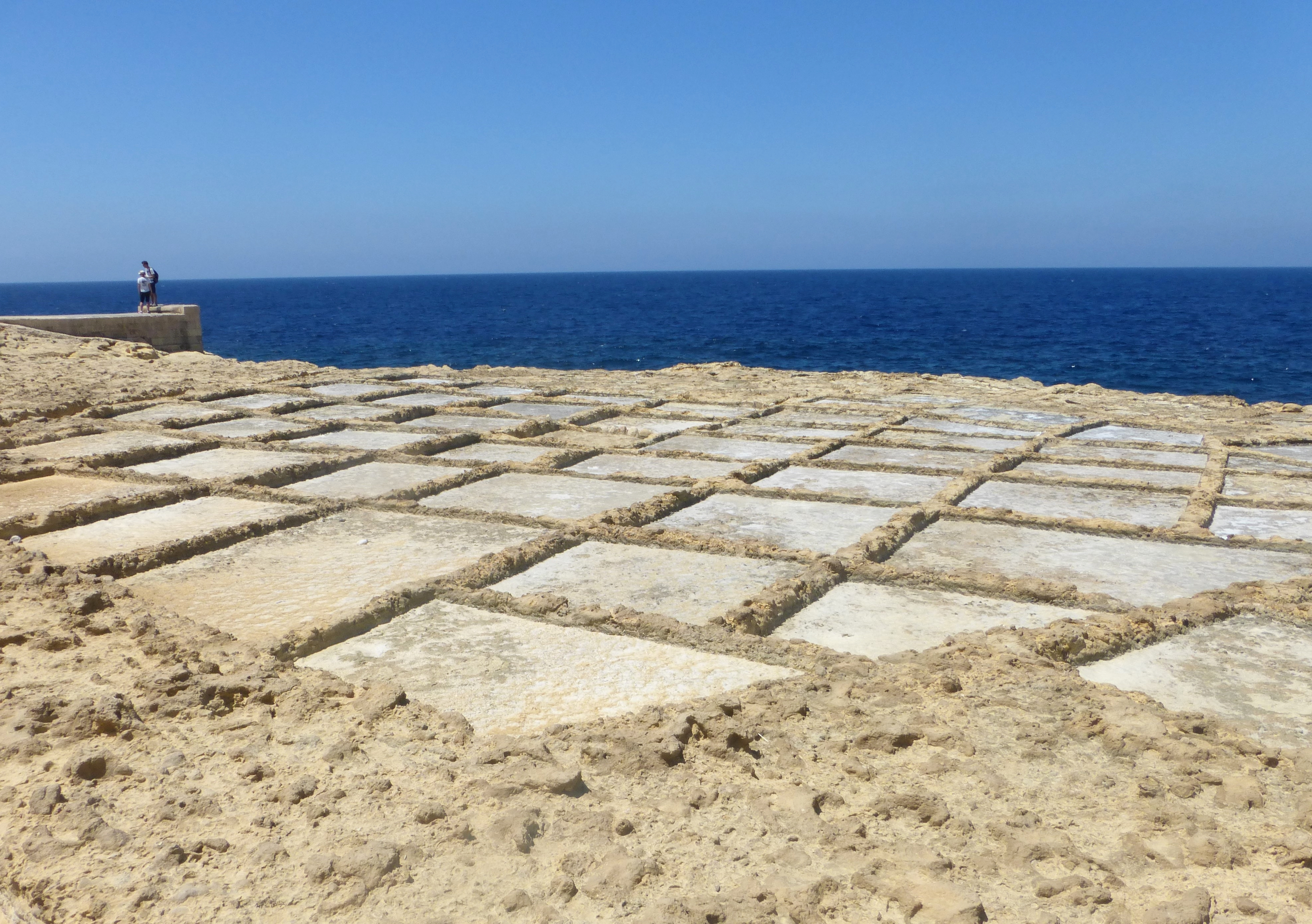 Chequerboard saltpans on the north coast of Gozo