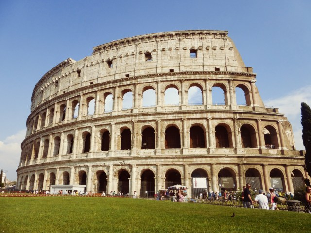The world famous facade of the Colosseum...