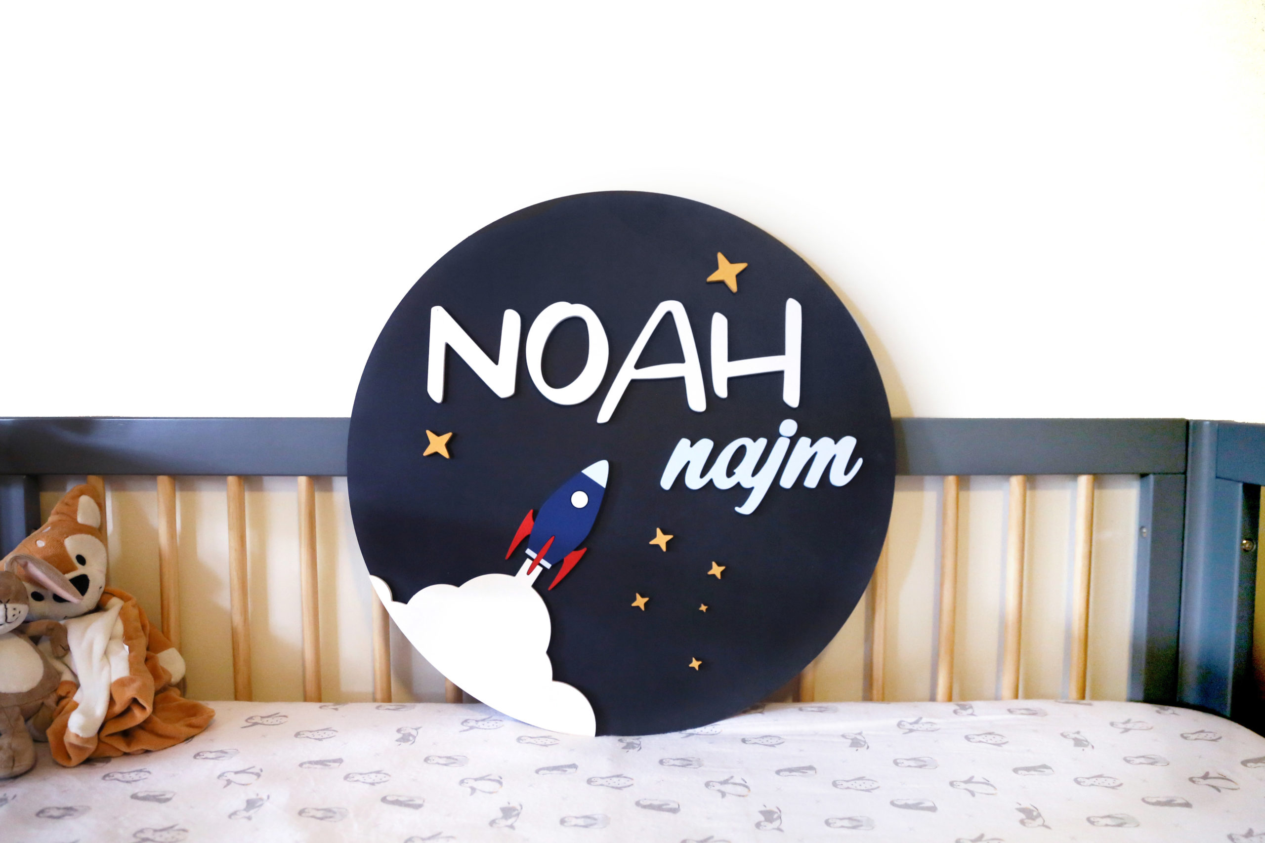 Wooden Round Rocket Name Plaque