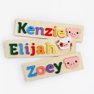 Pig Wooden Name Puzzle