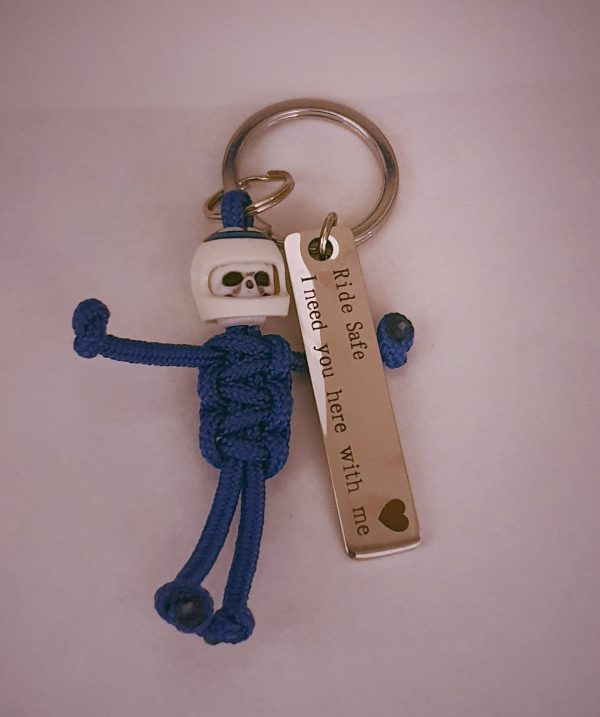 Ride safe i need you here with me keyring biker azul