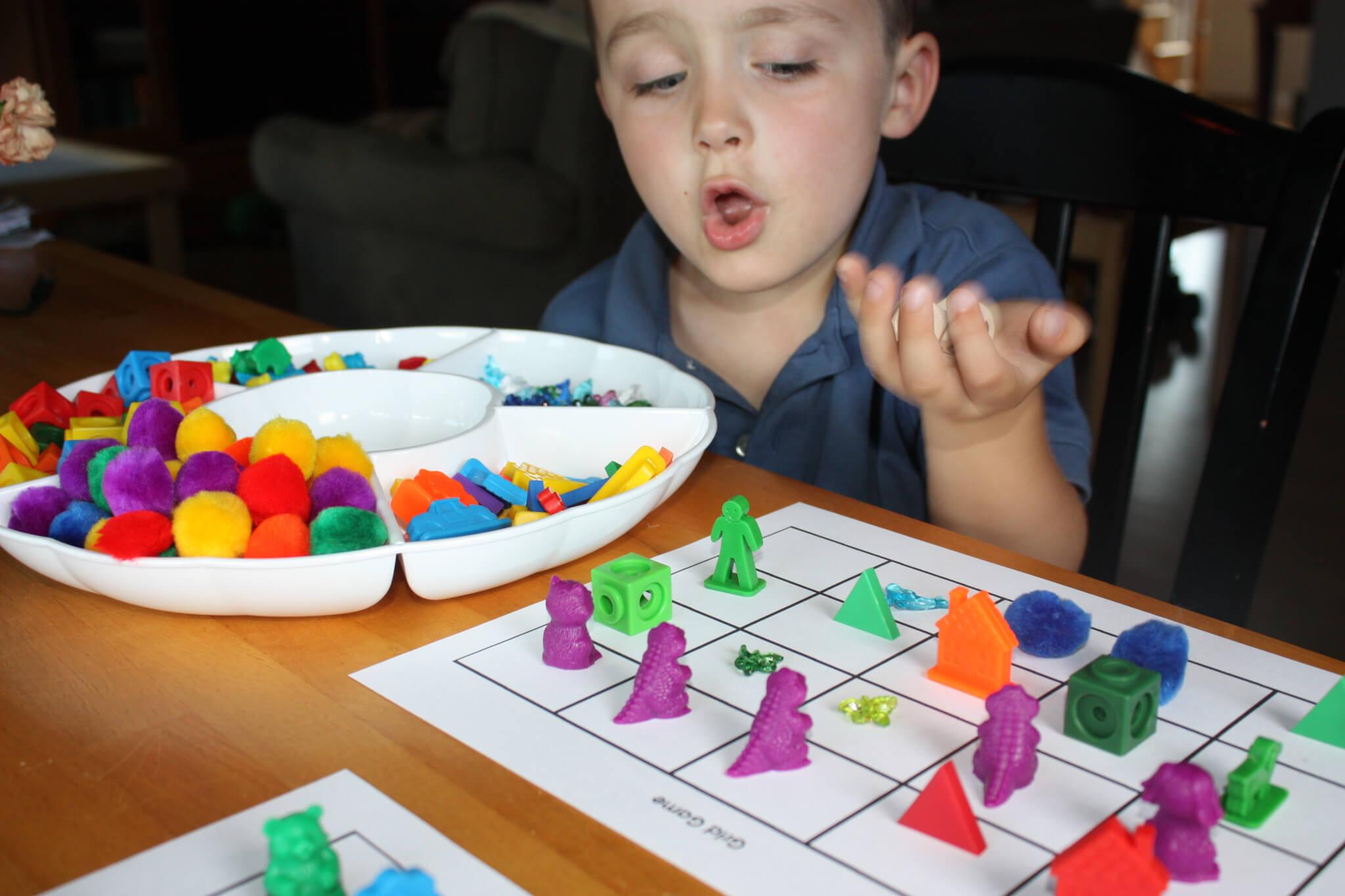 Colors Grid Game Homemade Preschool Math Game