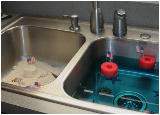 Beach Sensory Sink Cloud Dough and Water Sensory Play