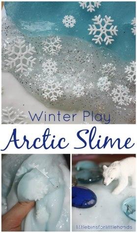 Arctic Slime Winter Sensory play Polar Bear Activity