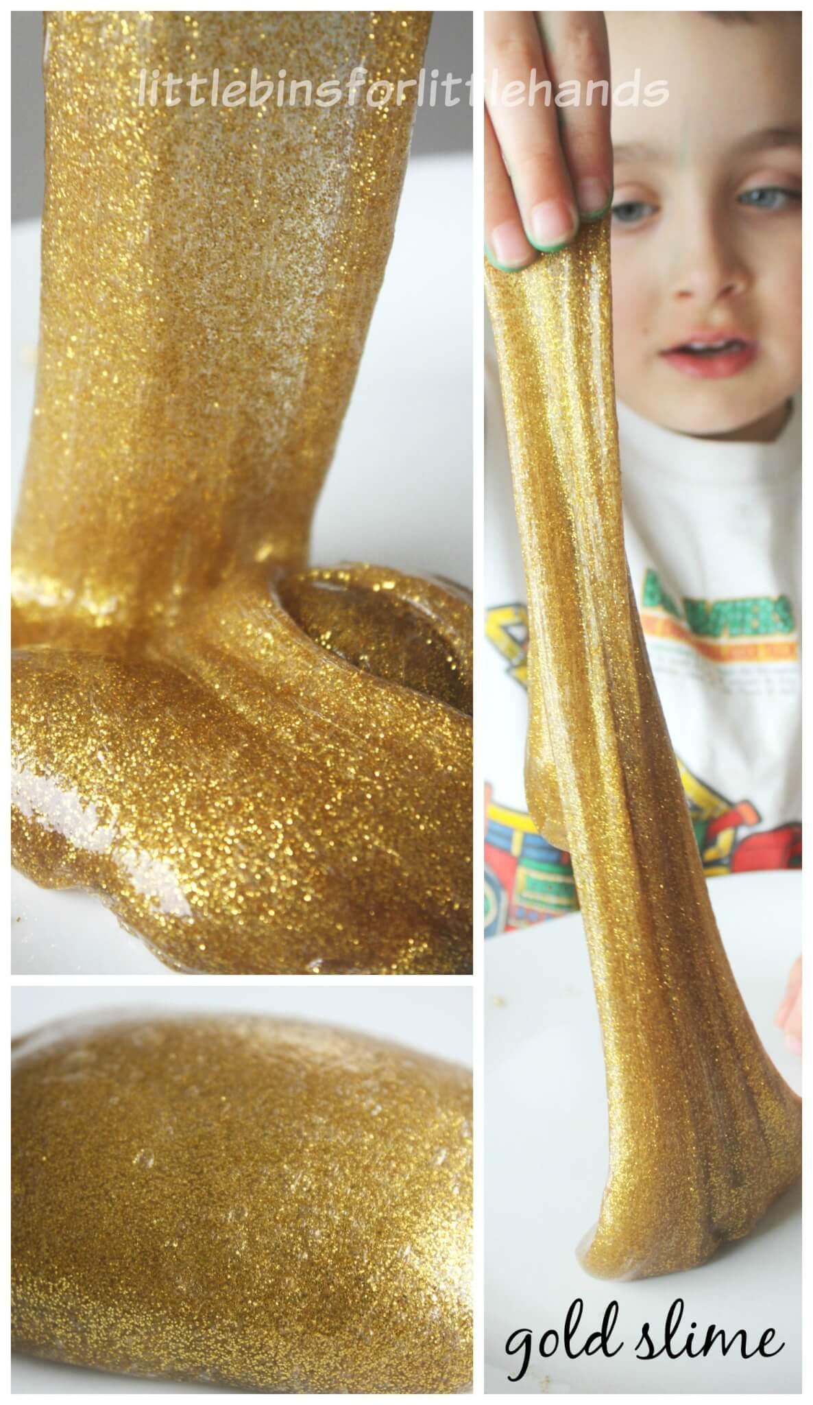 Gold Slime Recipe Glitter Glue Slime Sensory Play