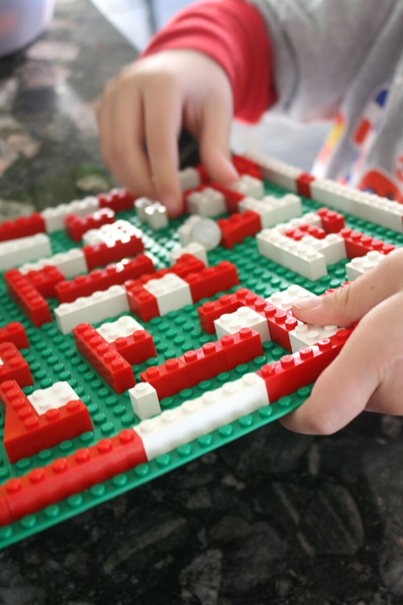 Christmas Marble Maze LEGO STEM Activity For Kids