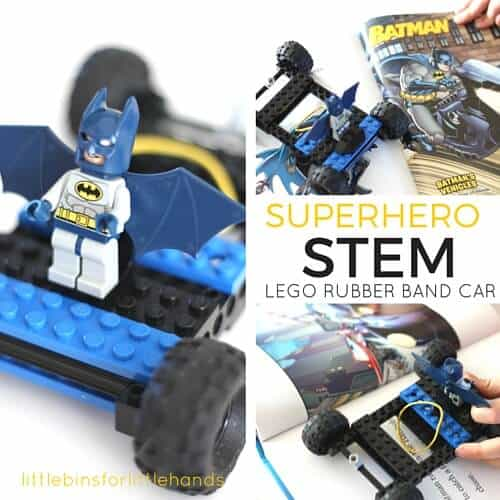 LEGO Rubber Band Car Superhero STEM Book Activity LEGO Rubber Band Car Superhero STEM Book Inspired LEGO Challenge