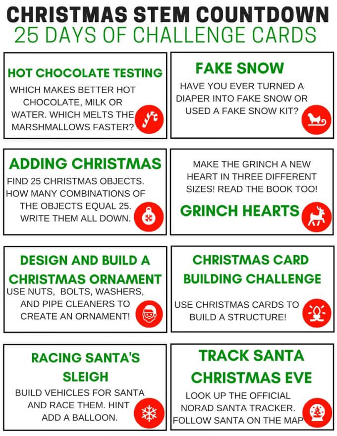 25 Days Of Christmas STEM Challenge Cards Countdown Calendar